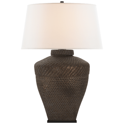Isla Large Table Lamp in Crystal Bronze Ceramic with Linen Shade