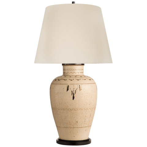 Cabot Large Table Lamp in Brown And White Clayware with Linen Shade
