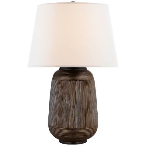 Monterey Large Table Lamp in Matte Bronze with Linen Shade
