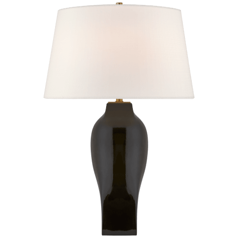 Ilona Large Table Lamp in Black with Linen shade