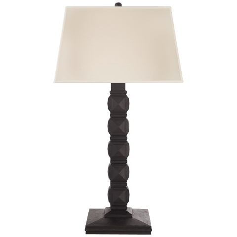 Barlow Tall Table Lamp in Aged Iron with Linen Shade