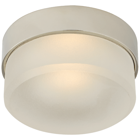 "Barton 4"" Flush Mount in Polished Nickel with Etched Crystal"