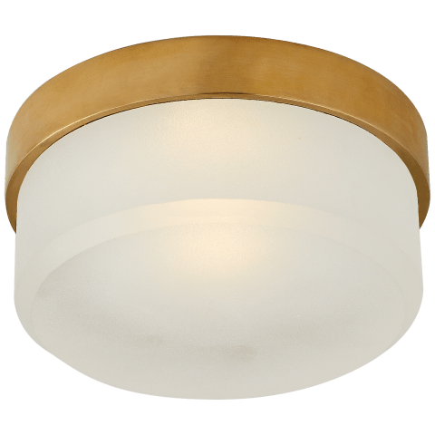 """Barton 6"""" Flush Mount in Natural Brass with Etched Crystal"""