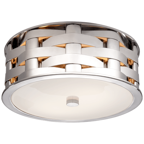 Ella Woven Small Flush Mount in Polished Nickel with White Glass