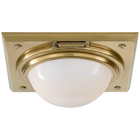 Wainscott Small Flush Mount in Natural Brass with White Glass
