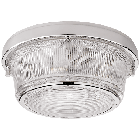 Grant Large Flush Mount in Polished Nickel with Industrial Prismatic Glass