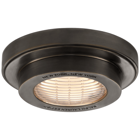 "Grant 4.5"" Solitaire Flush Mount in Bronze"