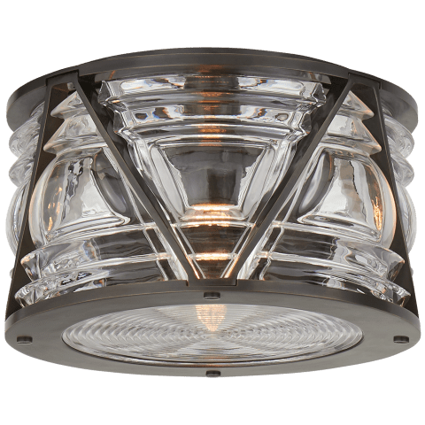 Chatham Small Flush Mount in Bronze with Clear Glass