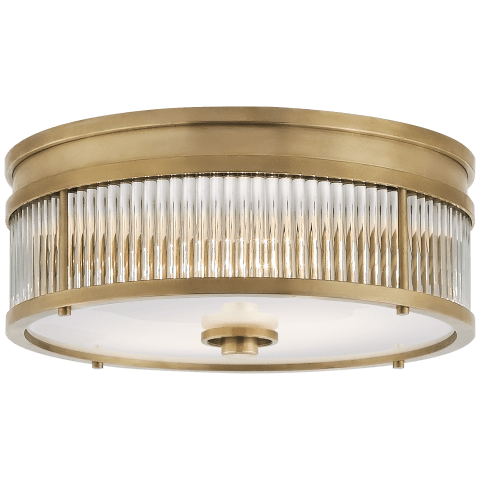 Allen Small Round Flush Mount in Natural Brass and Glass Rods with White Glass