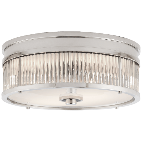 Allen Small Round Flush Mount in Polished Nickel and Glass Rods with White Glass