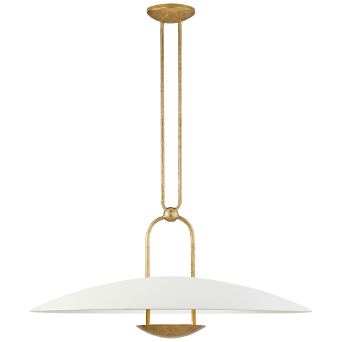 Cara Large Sculpted Pendant in Natural Brass with Plaster White Shade