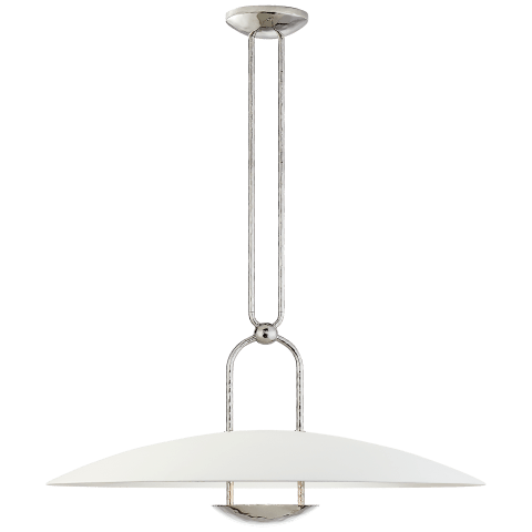Cara Large Sculpted Pendant in Polished Nickel with Plaster White Shade