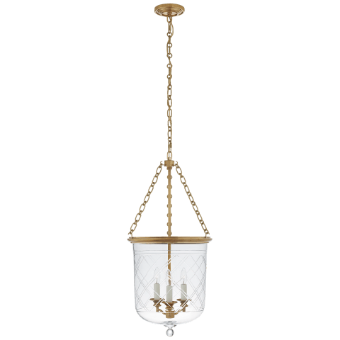 Cambridge Medium Smoke Bell Lantern in Natural Brass with Clear Glass