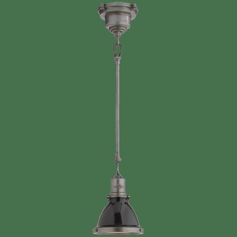 Fulton Mini Pendant in Industrial Steel with Black Enamel Shade