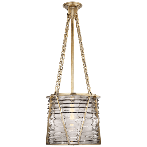 Chatham Large Lantern in Natural Brass with Clear Glass