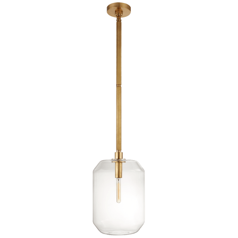 Barrett Medium Knurled Pendant in Natural Brass with Clear Glass