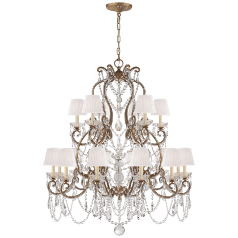 Adrianna Medium Chandelier in Gilded Iron and Crystal with Silk Shades
