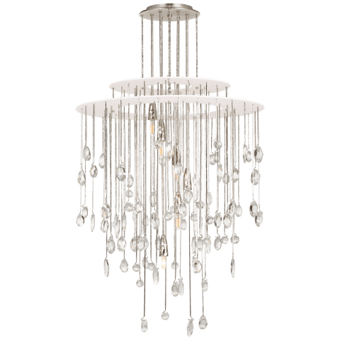 Hailee Medium Sculpted Chandelier in Polished Nickel and Plaster White with Crystal