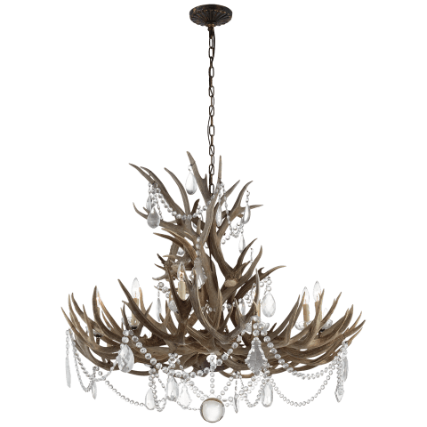 Straton Wide Chandelier in Natural Bone with Antiqued Crystal