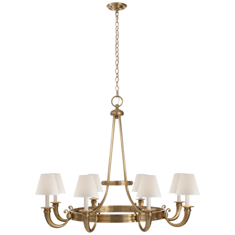 Brunswick Medium Chandelier in Natural Brass with Percale Shades