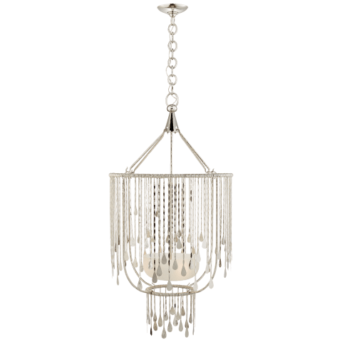 Kayla Medium Sculpted Chandelier in Polished Nickel with Alabaster