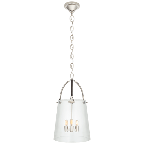 Julian Medium Lantern in Polished Nickel and Chocolate Leather with Clear Glass