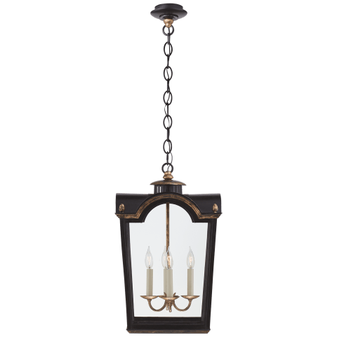 Brinkley Small Lantern in Old Black Tole with Clear Glass