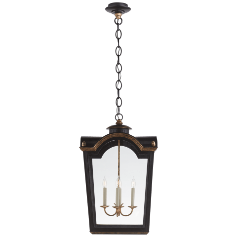 Brinkley Large Lantern in Old Black Tole with Clear Glass