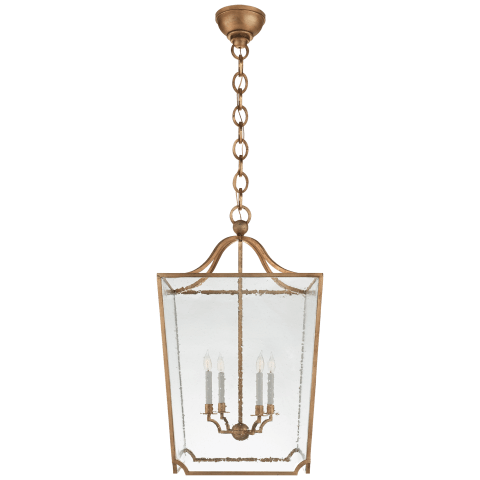 Beatrice Large Lantern in Gilded Iron with Restoration Glass