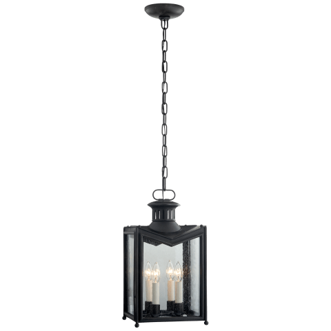 Mills Small Hanging Lantern in Aged Iron with Restoration Glass