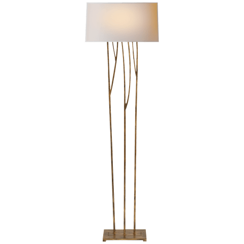 Aspen Floor Lamp in Gilded Iron with Natural Paper Shade