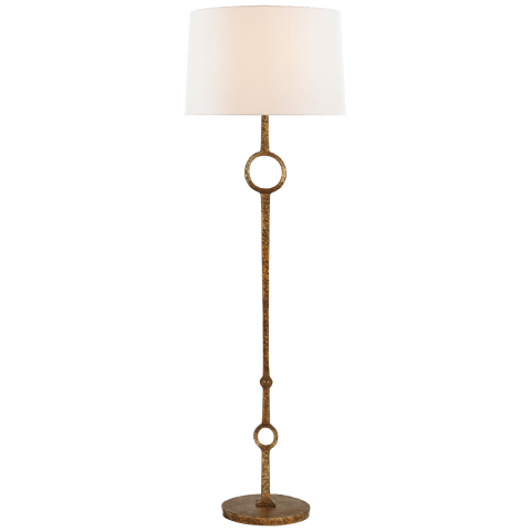 Talisman Large Floor Lamp in Gilded Iron with Linen Shade