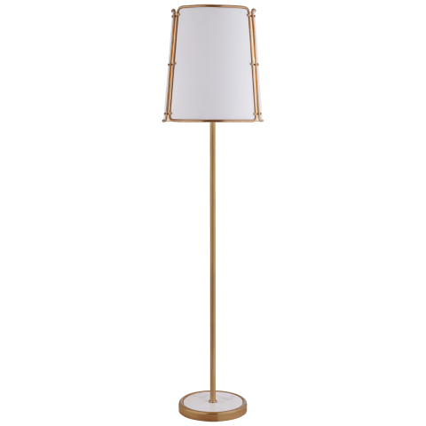 Hastings Large Floor Lamp in Hand-Rubbed Antique Brass with White Shade