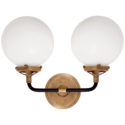 Bistro Double Light Curved Sconce in Hand-Rubbed Antique Brass and Black with White Glass