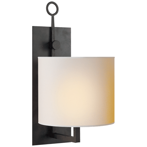 Aspen Iron Wall Lamp in Black Rust with Natural Paper Shade