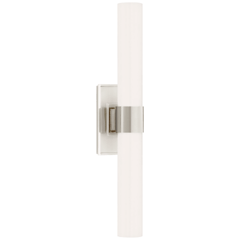 Presidio Petite Double Sconce in Polished Nickel with White Glass