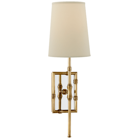 Grenol Single Modern Bamboo Sconce in Hand-Rubbed Antique Brass with Natural Percale Shade