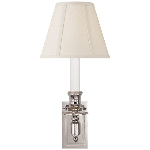 French Single Library Sconce in Polished Nickel with Linen Shade