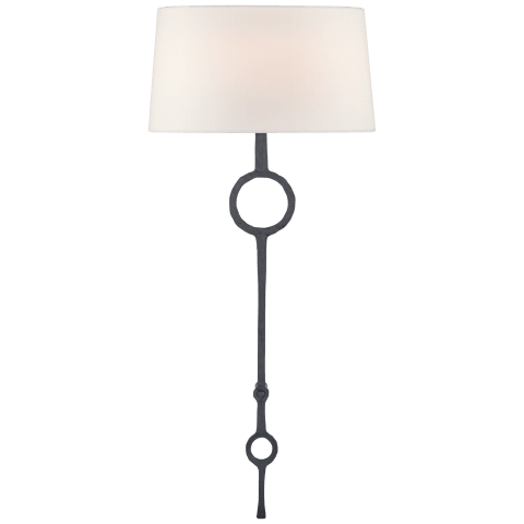 Talisman Large Tail Sconce in Aged Iron with Linen Shade