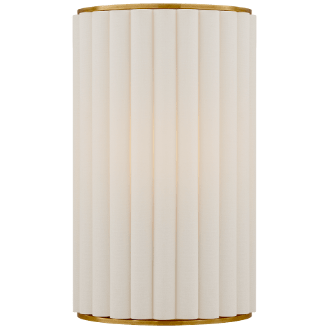Palati Small Sconce in Hand-Rubbed Antique Brass with Linen Shade