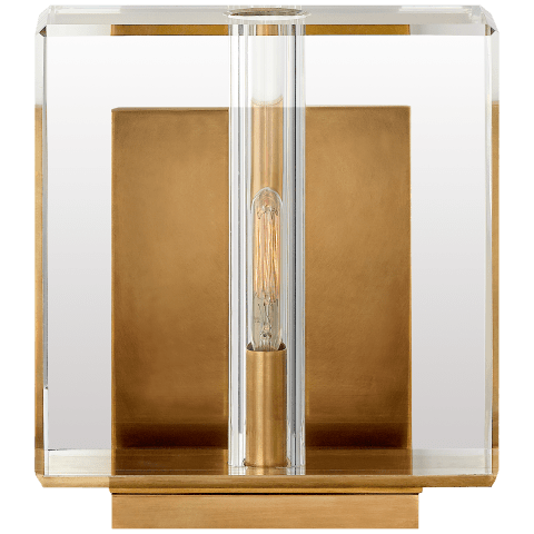 Ambar Small Wall Light in Crystal and Hand-Rubbed Antique Brass