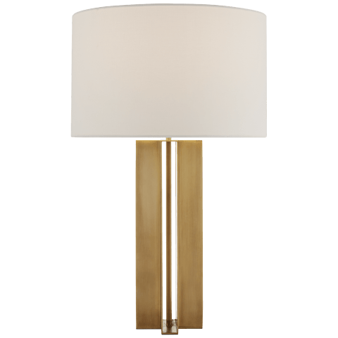 Rune Medium Table Lamp in Hand-Rubbed Antique Brass with Linen Shade