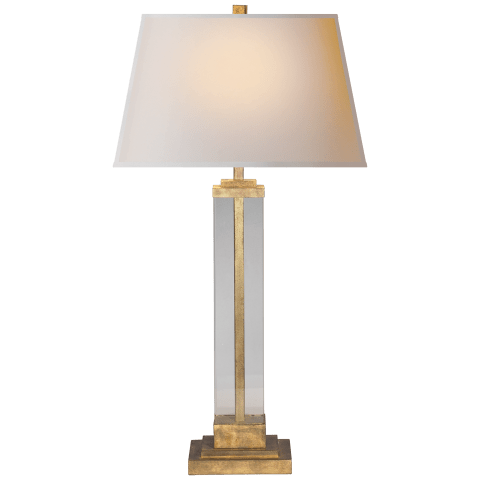 Wright Table Lamp in Gilded Iron and Glass with Natural Paper Shade
