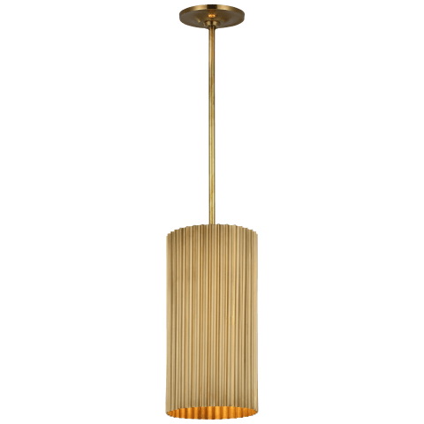 Rivers Small Fluted Pendant in Soft Brass