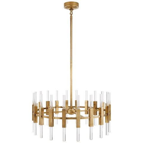 Palomar Small Rotating Chandelier in Hand-Rubbed Antique Brass with Clear Acrylic