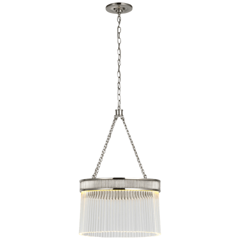 Menil Medium Chandelier in Polished Nickel with Crystal Rods