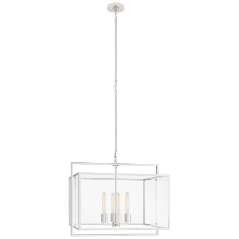 Halle Medium Wide Lantern in Polished Nickel with Clear Glass