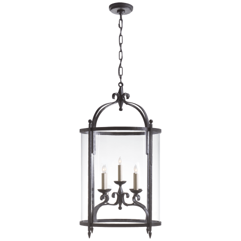 Gillespie Medium Oval Lantern in Aged Iron with Clear Glass