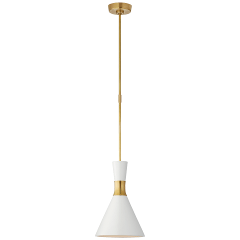 Liam Small Conical Pendant in Hand-Rubbed Antique Brass with Matte White Shade