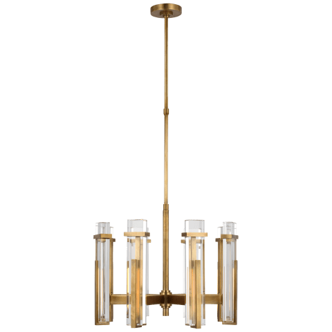 Malik Medium Chandelier in Hand-Rubbed Antique Brass with Crystal